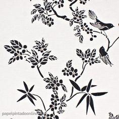 Papel pintado OKANA COC_5919_01_16 Stencil Patterns, Silhouette Art, Birds, Embroidery, Wallpaper, Home Decor, Wall Papers, Bronze, Vinyls