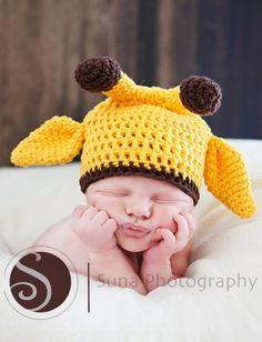 Newborn Baby Giraffe Hat, Yellow Hat, Photo Prop