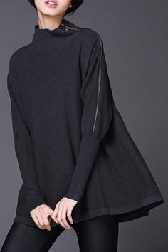 LUSHIJIAO Funnel Neck Batwing Sweater