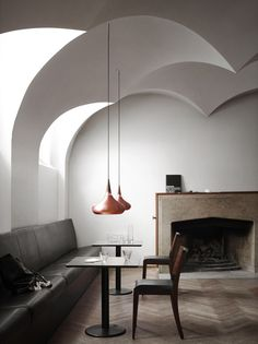 Orient pendants look gorgeous in this simplistically styled space.