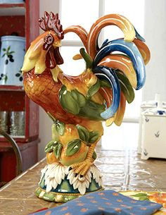 Andrea by Sadek - Roosters: Charles Sadek Rooster with Pears. Standing proud, this golden rooster is a marvel of finely sculpted and hand-painted details. Ceramic Rooster, Rooster Art, Rooster Kitchen Decor, Rooster Decor, Chicken Crafts, Chicken Art, Rooster Images, Country Chicken, Chicken Kitchen