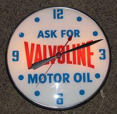 Valvoline Clock  (Vintage Motor Oil Clock, Antique Advertising Lighted Clocks)