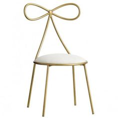 The Emily & Meritt Bow Chair, Gold/ivory. by Pottery Barn Teen Antique White Furniture, Cream Furniture, Gold Furniture, Colorful Furniture, Furniture Chairs, Bedroom Furniture, Furniture Movers, Small Furniture, Furniture Vintage