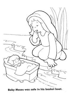 moses baby moses was safe in his basket boat coloring page