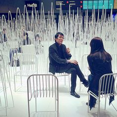 Oki Sato, Nendo, being interviewed in his installation at SFF