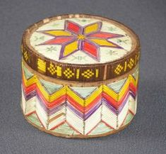 First Nations; Mi'kmaq c 1865 dyed and natural porcupine quill, birchbark and spruce root 11 cm x 8 cm x 8 cm Gift of the Estate of Sarah Hare, 1958 ) Native American Baskets, Native American Crafts, American Indians, Birch Bark Baskets, Indian Baskets, Indian Tribes, Aboriginal Art, Native Art, First Nations