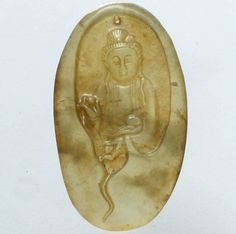 Chinese Old Jade Hand Carved Standing Meditation Kwan-yin Ruyiasia Pendant QM07