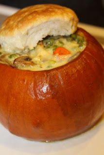 For the Love of Food: Harvest Pumpkin Chicken Pot Pies Roast Pumpkin, Baked Pumpkin, Pumpkin Recipes, Fall Recipes, Pumpkin Dishes, Pie Recipes, Pesto, Pot Pies, Soups And Stews