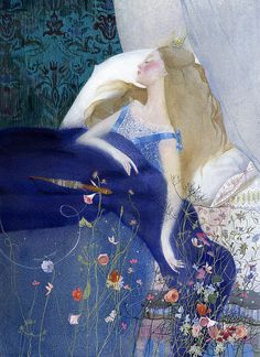 ⊰ Posing with Posies ⊱ paintings & illustrations of women & children with flowers - Sleeping Beauty by Nadezhda Illarionova.