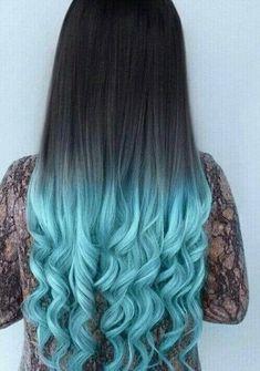 50 Fun Blue Hair Ideas Become More Adventurous With Your Hair # more adventurous # . - Beliebt Frisuren - Your HairStyle Blue Ombre Hair, Ombre Hair Color, Turquoise Hair Ombre, Black To Blue Ombre, Ombre Brown, Silver Ombre, Neon Hair, Violet Hair, Teal Green
