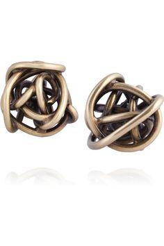 Kelly Wearstler|Brass knot stud earrings|NET-A-PORTER.COM