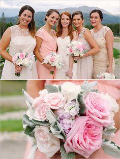 Pastel wedding bouquet and bridesmaids. Captured By: Michele Hart Photography ---> http://www.weddingchicks.com/2014/05/29/rain-and-shine-rustic-colorado-wedding/
