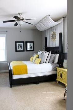 Best Couples First Apartment Decorating Ideas - Apartment Decor - Apartment Bedroom Makeover, Couples First Apartment, Yellow Bedroom, Apartment Decor, Bedroom Colors, Romantic Bedroom Decor, Small Bedroom, Home Bedroom, Remodel Bedroom