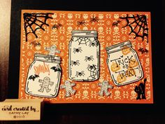 Stampin up jar of love with stamps by Judith. Black stickles for webs and cat