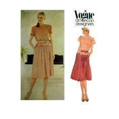 Vogue American Designer Pattern 2713, John Anthony Women's Top and Skirt Pattern, Misses Size 12 Bust 34""