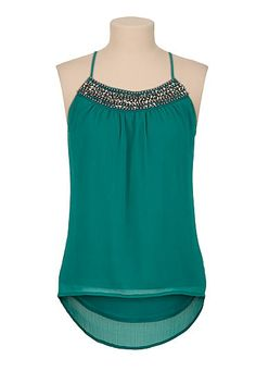 Embellished neck high-low racerback tank (original price, $29) available at #Maurices