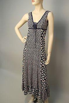 Gunne Sax Black Label Vintage Gown Spring Rayon Floral Dress sz 7