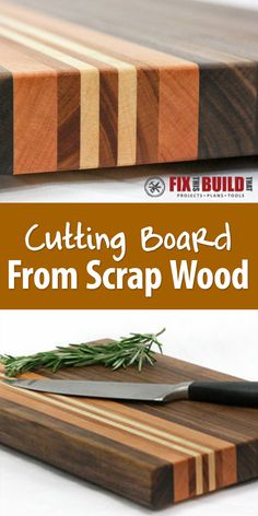 Take a few hardwood offcuts and transform them into a handsome cutting board. This is made from scrap walnut, cherry, mahogany, and maple.