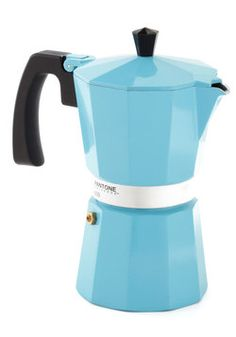 I have the perfect idea for a theme: Carolina Blue!! ;) Discerning Palette Coffee Maker in Vintage Blue - 6 Cup, #ModCloth #cafetera italiana colores
