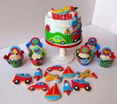 Baby Birthday Cakes, Cars Birthday Parties, 1st Boy Birthday, Birthday Party Decorations, Train Cakes, 1st Bday Cake, Transportation Birthday, Themed Cakes, First Birthdays