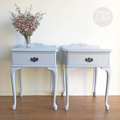"""80 Likes, 2 Comments - Rebecca • With the Grain • QLD (@withthegrainhome) on Instagram: """"SOLD - Pretty leggy pair of Paragon Queen Anne bedsides in a soft grey custom mix, sealed with a…"""""""