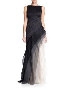 Halston Heritage - Satin & Organza Tiered Degradé Gown