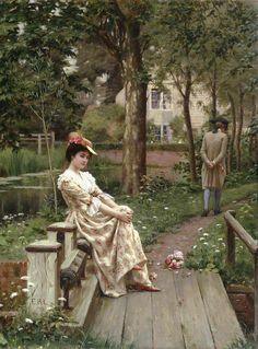 """arcadiainteriorana: """" 'Off'- Edmund Blair Leighton (British, 1852–1922) """""""