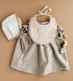 Handmade baby girl outfit. Dress, bonnet & bibz