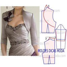 Can add ruffle or pleated trims, bows, lace etc Coat Patterns, Dress Sewing Patterns, Blouse Patterns, Clothing Patterns, Blouse Designs, Fashion Sewing, Diy Fashion, Ideias Fashion, Fashion Tips