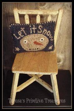 Primitive Hooked Pillow Snowman | Primitive Handmades Mercantile