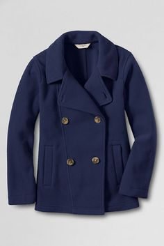 Girls' ThermaCheck®200 Fleece Pea Coat from Lands' End