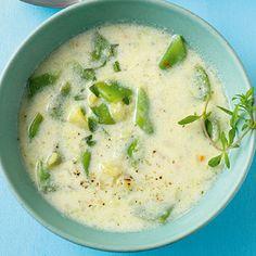 Buttermilchsuppe mit Kartoffeln und grünen Bohnen