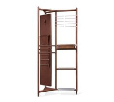 """""""Groom"""" valet Hermes """"groom"""" valet with metallic frame and chocolate solid Canaletto walnut wood. Leather covered elements. L36.3"""" x H75.6"""" x W21.6""""  With its revolving mirror and various spaces for storage and hanging, this piece provides practical organization for everyday use and showcases the house's leathers and know-how."""
