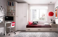 Rimobel Mundo Joven contemporary bed with 2 drawers, guest bed, wardrobe and desk