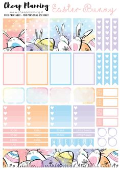 Free Printable Easter Bunnies Planner Stickers from Cheap Planning