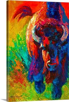 Buffalo Painting, Buffalo Art, Bull Painting, Painting Prints, American Indian Art, Native American Art, Framed Prints, Canvas Prints, Big Canvas