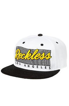 The Vintage Reckless Snapback Hat in White and Black by Young