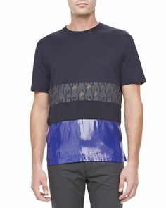 Lanvin Mixed-Media Short Sleeve Tee & Textured Stretch Jeans - Bergdorf Goodman