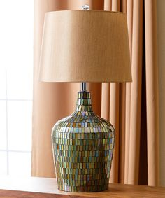 Mosaic Allesandra Table Lamp  Has that iridescent type of color in the tiles. All your colors in it.