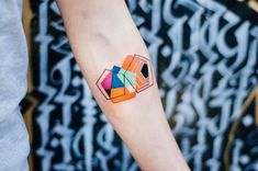 Colorful Geometrical Tattoo on hand