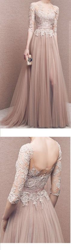 Charming Prom DressTulle Prom DressHalf-Sleeves Prom DressAppliques Evening Dress