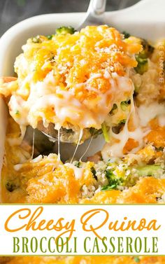 Cheesy Quinoa and Sausage Broccoli Casserole | A healthier version of the classic broccoli casserole, made with protein packed quinoa, chicken sausage, and a homemade (no condensed soups) creamy cheddar sauce! | http://thechunkychef.com #WenteVineyards #ad