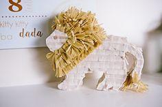 Small Lion Pinata | Party of 7 Photography | Safari First Birthday Party | Sweet Georgia Sweet | @kateaspen