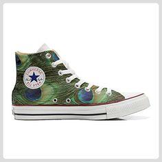 d269f366e0 Converse All Star Hi Customized personalisierte Schuhe (Handwerk Schuhe)  pfau TG46 - Sneakers für