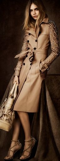 Burberry studded trench...Love it it's so sophisticated and feminine with just a little toughness by adding the spikes