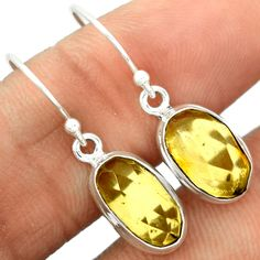 Faceted Baltic Amber 925 Sterling Silver Earrings Jewelry BARE14 - JJDesignerJewelry