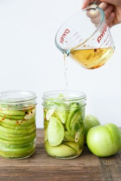 Use up the last of your garden tomatoes before it freezes! These Pickled Green Tomatoes are an all-time reader favorite!