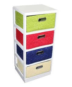 Look at this #zulilyfind! Multicolored Four-Drawer Wood & Straw Cabinet #zulilyfinds