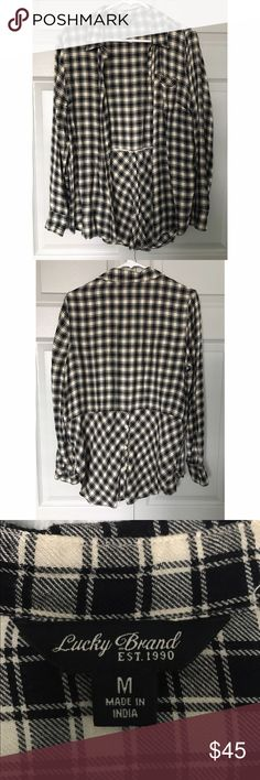 NWOT Lucky Brand Black & Cream Flannel Insanely soft and comfortable, I just never wear it because I have too many flannels and don't ever wear this one! Worn once briefly, perfect condition. Feel free to bundle, I'm open to reasonable offers! Lucky Brand Tops Button Down Shirts