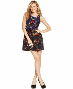 Kensie Dress, Sleeveless High-Neck Floral-Print A-Line